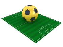 Football field and soccer ball Royalty Free Stock Photos