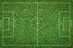 Football field soccer ball green grass Royalty Free Stock Image