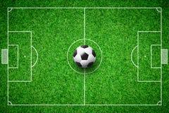 Football field soccer ball. Green grass stadium background Stock Image