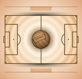 Football field and soccer ball vintage style illustration. Football field and soccer ball vintage style vector illustration, eps available Royalty Free Stock Photo
