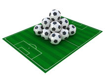 Football field and soccer balls Royalty Free Stock Image