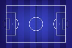 Football field or soccer field background. Vector blue court for create game. Vector illustration Royalty Free Stock Photo