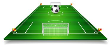 Football field, soccer field set with football ball. Perspective vector illustration. EPS 10.  Stock Image