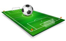 Football field, soccer field set with football ball. Perspective vector illustration. EPS 10.  Stock Photos