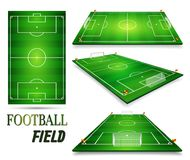 Football field, soccer field set. Perspective vector illustration. EPS 10. Room for copy.  Royalty Free Stock Image