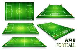 Football field, soccer field set. Perspective vector illustration. EPS 10. Room for copy.  Stock Images
