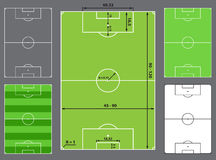 Football field or soccer field. Sizes, stadium design Royalty Free Stock Image