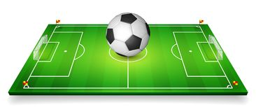 Football field, soccer field set with football ball. Perspective vector illustration. EPS 10.  Stock Photography