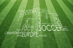 Football field with soccer word tags Stock Photography