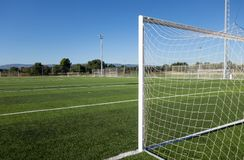 Football field in a sport complex. Football soccer field in a big sports complex stock photography