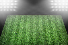 Football field in spotlights Royalty Free Stock Photo
