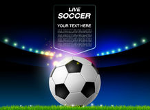 Football on field and spotlights background Stock Image