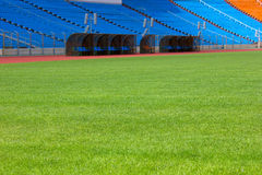Football field and stadium Stock Photo