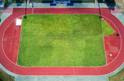 Football field in stadium on fine day Royalty Free Stock Images