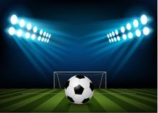 Football on the field of stadium with light Royalty Free Stock Photography