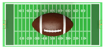 Football field. Top view of a football field with a big ball on white background (3d render Stock Photo
