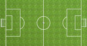 Football field top view with soccer ball in the center. 3D Rendering Royalty Free Stock Photo