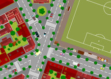 Football field in town Stock Photo