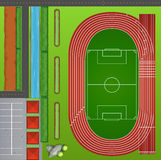 Football field with tracks Stock Photos