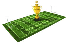Football field with the trophy on the center. American football field isolated on white background with the golden trophy on the center Stock Photography