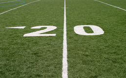 Football Field Twenty. Green football field with large yard numbers Stock Photography