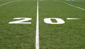 Football Field Twenty. Green football field with large yard numbers Stock Image