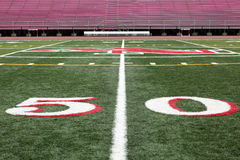 Football field view from 50 yard line Royalty Free Stock Photography