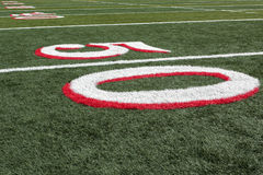 Football field view from 50 yard line Royalty Free Stock Image