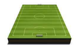 Football field  on white background. 3d render image. Football field  perspective view Royalty Free Stock Photo