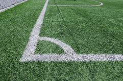 Football field. White line on football field Royalty Free Stock Images
