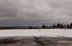 Football field in winter. under the snow Stock Photo