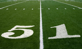 Football Field 51 Yard Line Stock Images