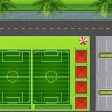 Football fields by carpark Stock Photo