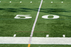 Football fifty yard marker Stock Images