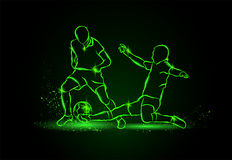 Football. fight for the ball. tackle. neon style. Royalty Free Stock Photo