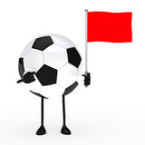 Football figure with flag. Football figure pointed finger on red flag Royalty Free Stock Photo