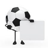 Football figure hold billboard. On white background Royalty Free Stock Photography