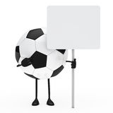 Football figure hold billboard. On white background Stock Photo
