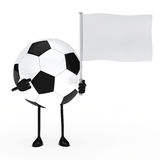 Football figure hold flag. Football figure pointed finger on white flag Royalty Free Stock Images