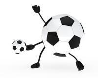 Football figure shoots a ball. White background Stock Photo