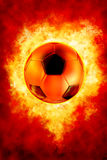 Football On Fire. Image include hand-drawn  clipping path for remove background Royalty Free Stock Photos