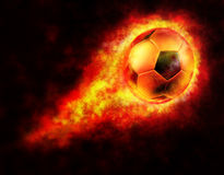Football On Fire. Image include hand-drawn  clipping path for remove background Royalty Free Stock Photography