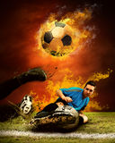 Football in fire Royalty Free Stock Photos