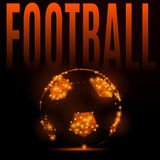 Football fire ball. Abstract mash line and point football ball in flames style on dark background with an inscription. Vector polygonal sport background Stock Image