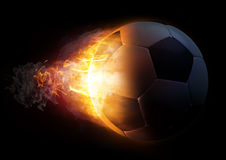 Football in Fire on black background Royalty Free Stock Photography
