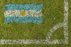 Football Flag. Flag of Argentina painted on football pitch Royalty Free Stock Images