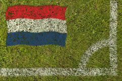 Football Flag. Flag of Holland painted on football pitch Stock Photography