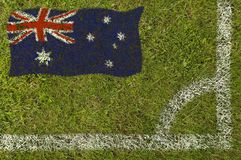 Football Flag. Flag of Australia painted on football pitch Stock Images