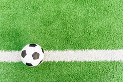Football flag. Ball on white line. Royalty Free Stock Photo