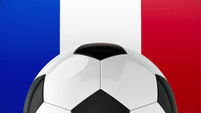 Football on Flag of France. Represents Euro 2016 - France football championship, three-dimensional rendering, 3D illustration Stock Images